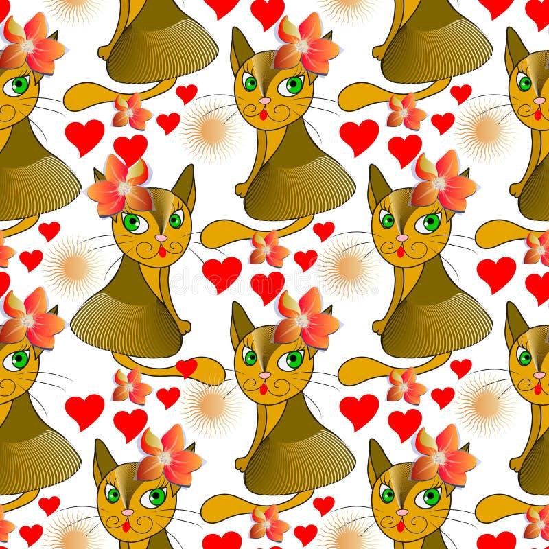 Het kleurrijke vector naadloze patroon van beeldverhaalkatten Vector sier heldere dierenachtergrond Abstracte stammen etnische st stock illustratie