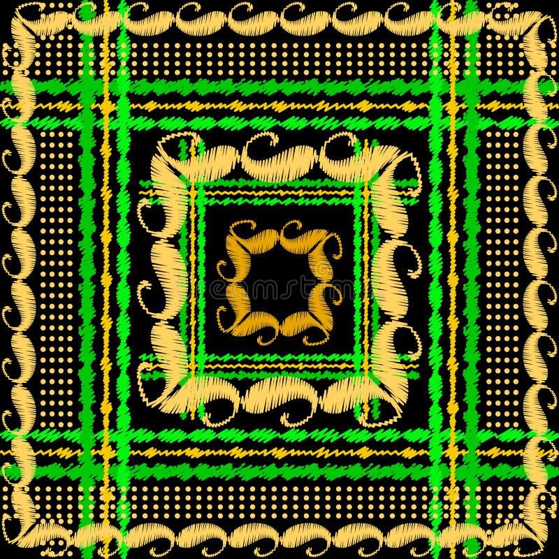 Het kleurrijke vector naadloze patroon van het geruit Schots wollen stofborduurwerk Gestreepte geweven plaidachtergrond Het tapij royalty-vrije illustratie