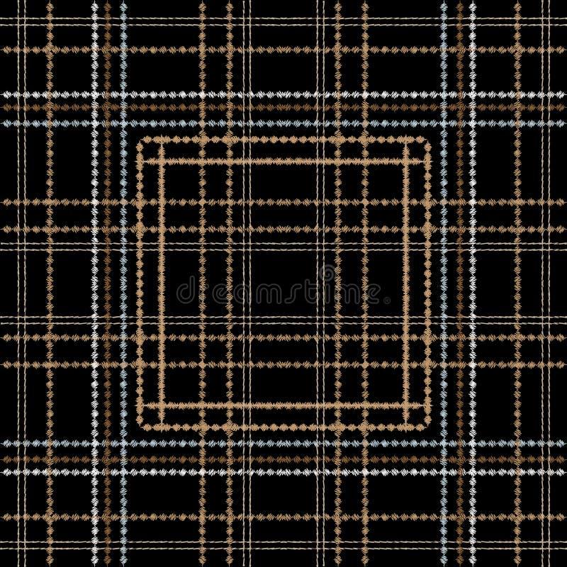 Het kleurrijke vector naadloze patroon van het geruit Schots wollen stofborduurwerk Stikkende gestreepte geweven plaidachtergrond royalty-vrije illustratie
