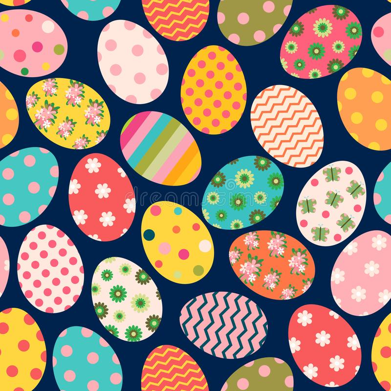 Het kleurrijke vector naadloze patroon van Pasen met geschilderde eieren vector illustratie