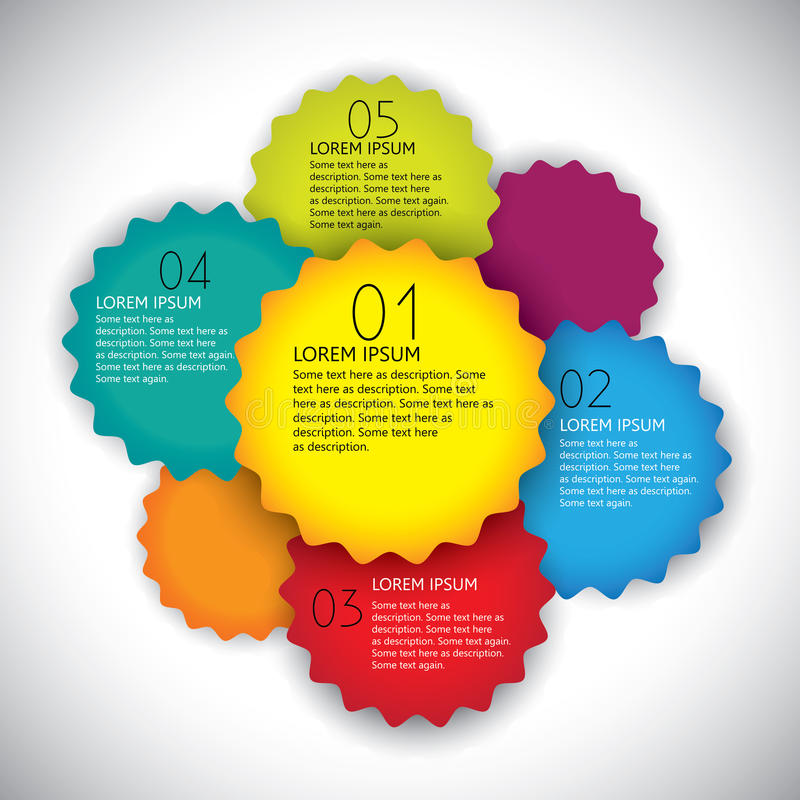 Het kleurrijke vectormalplaatje van de ontwerplay-out met aantallen de één na de ander. vector illustratie
