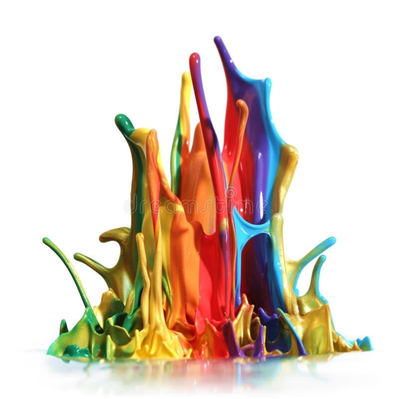 Het kleurrijke verf bespatten royalty-vrije stock afbeelding