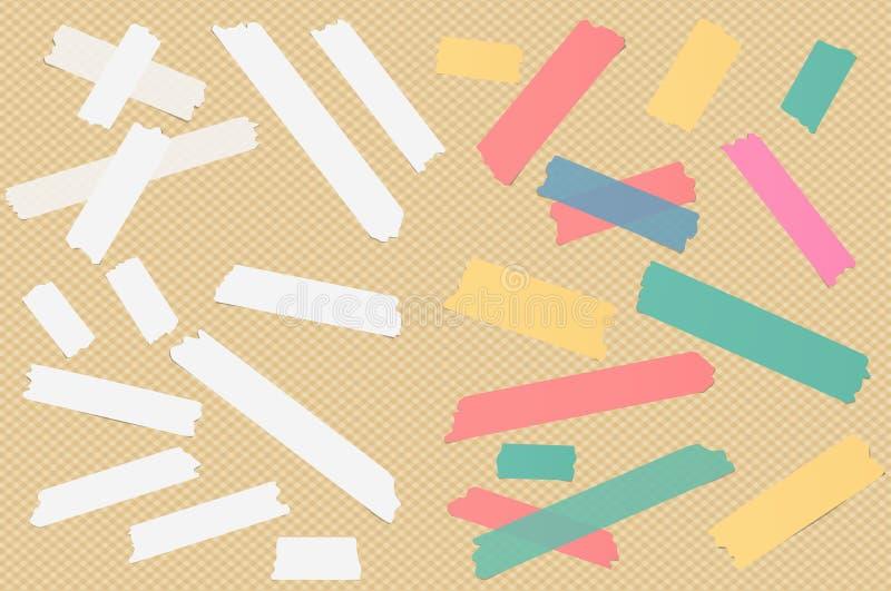 Het kleurrijke verschillende grootte kleverige document, kleefstof, afplakband is op geregelde achtergrond royalty-vrije illustratie