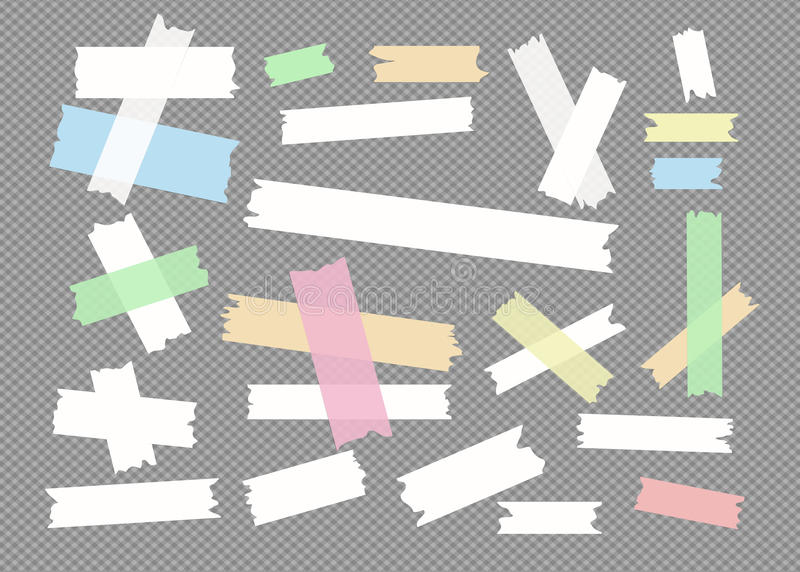 Het kleurrijke verschillende grootte kleverige document, kleefstof, afplakband is op geregelde grijze achtergrond stock illustratie