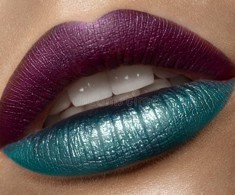 Het kleurrijke vrouwelijke close-up van kunstlippen Het Gezicht van de schoonheid stock afbeeldingen