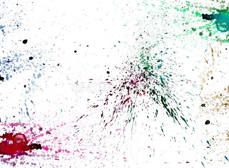 Het kleurrijke waterverf bespatten op wit isoleert achtergrondgraphi vector illustratie