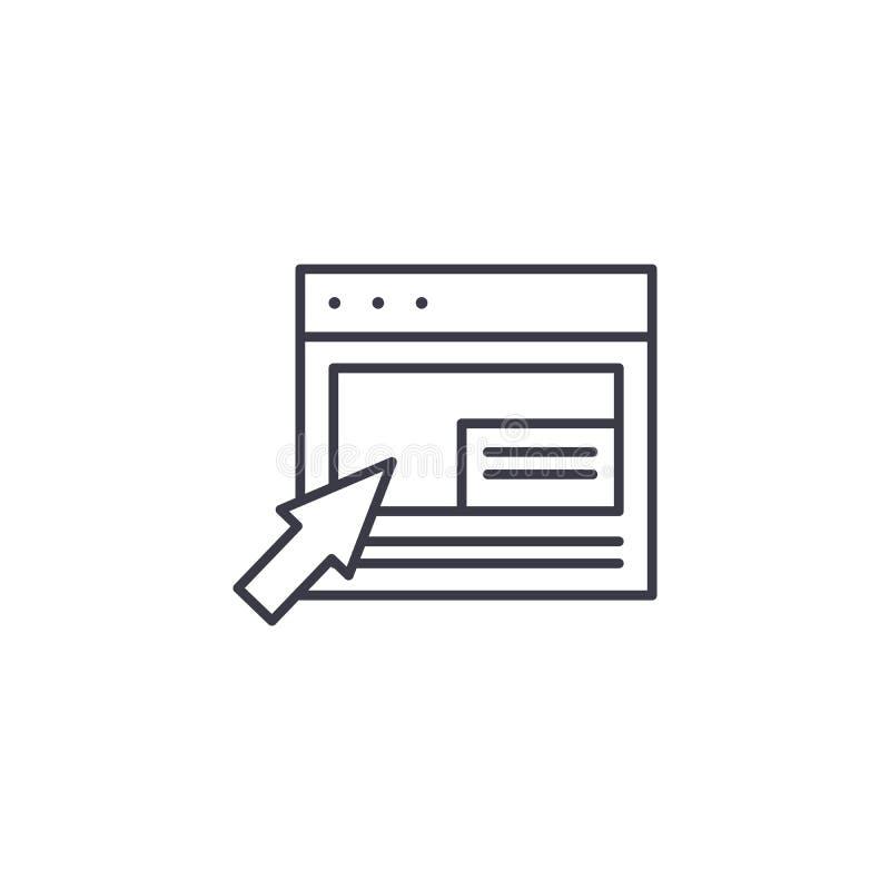 Het klikken op een objecten lineair pictogramconcept Klikkend op een objecten lijn vectorteken, symbool, illustratie royalty-vrije illustratie