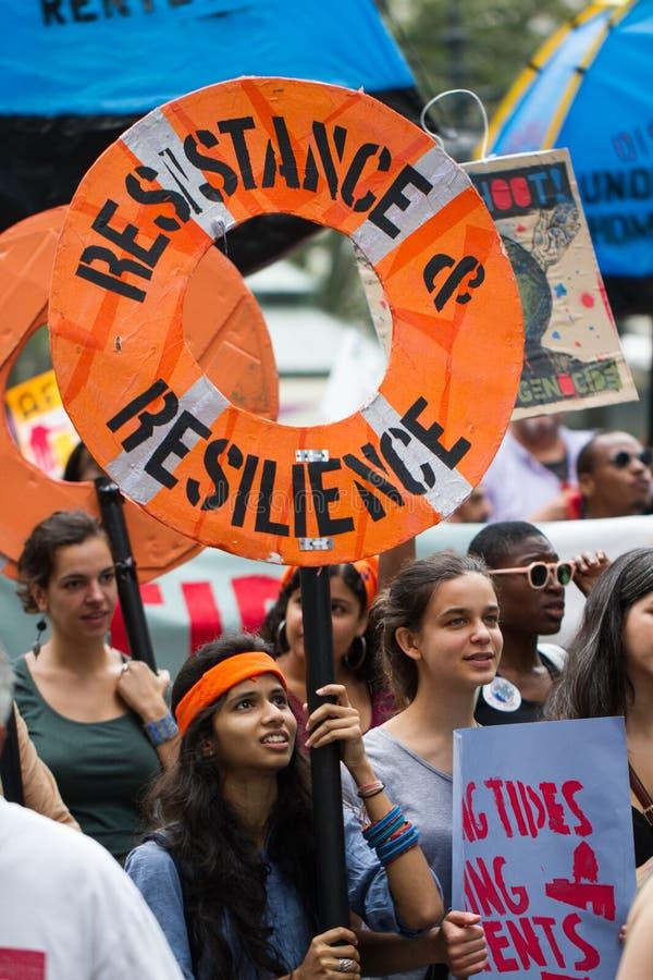 Het Klimaat Maart NYC van mensen stock foto