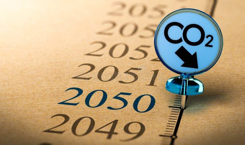 het het klimaatplan van 2050, vermindert kooldioxidevoetafdruk vector illustratie