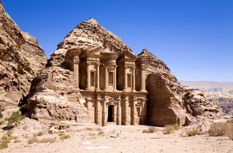 Het klooster in Petra royalty-vrije stock fotografie