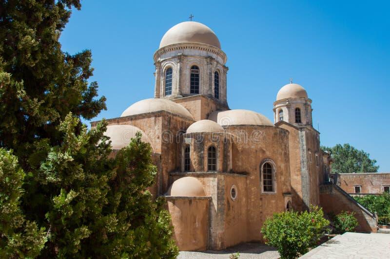Het Klooster van Agia Triada in Kreta, Griekenland stock afbeelding