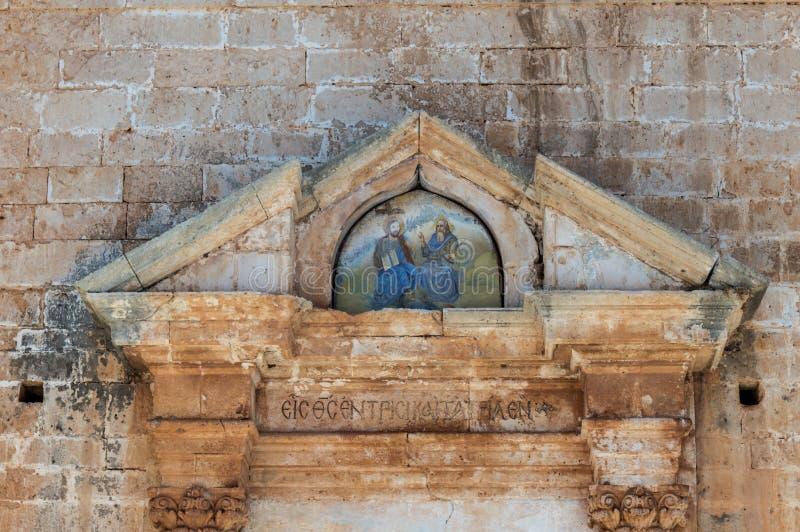 Het Klooster van Agia Triada in Kreta, Griekenland stock foto's