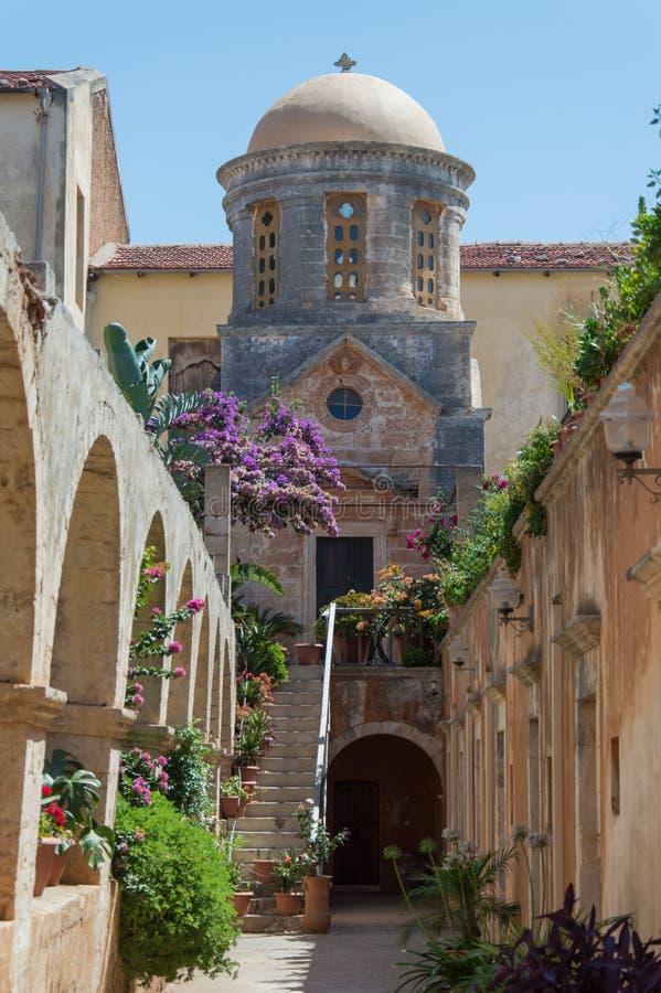 Het Klooster van Agia Triada in Kreta, Griekenland stock afbeeldingen
