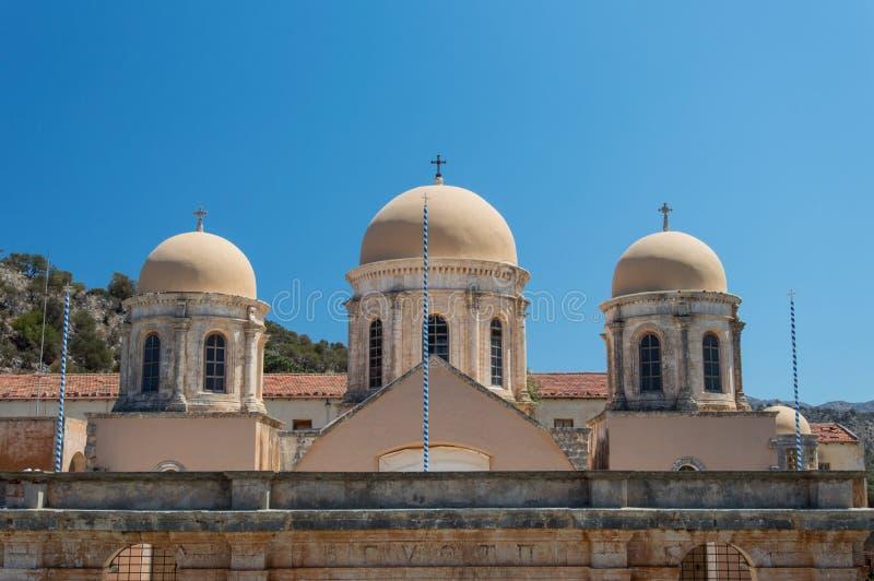 Het Klooster van Agia Triada in Kreta, Griekenland royalty-vrije stock foto's