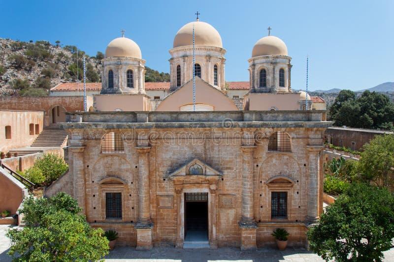 Het Klooster van Agia Triada in Kreta, Griekenland royalty-vrije stock afbeelding