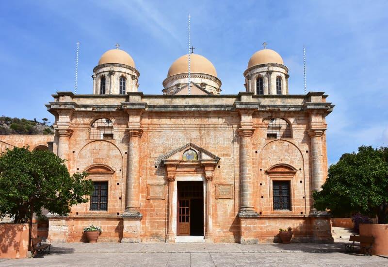 Het klooster van Agiatriada van eiland Kreta stock afbeelding