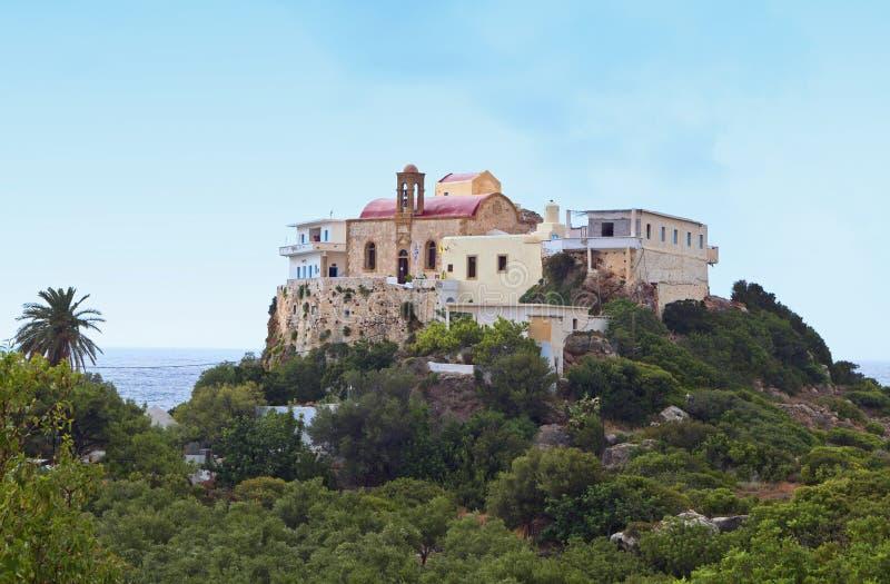 Het klooster van Chrisoskalitsa bij het eiland van Kreta stock afbeeldingen