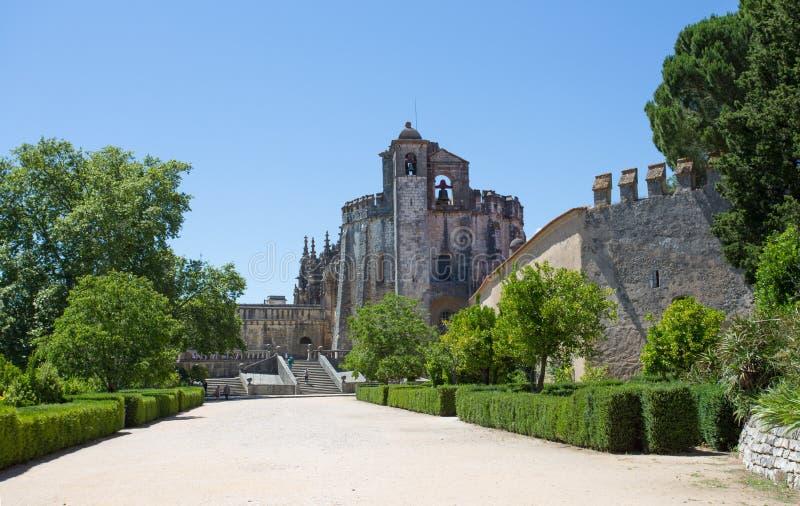 Het klooster van de Orde van Christus is een godsdienstig gebouw en de Rooms-katholieke bouw in Tomar, Portugal Unesco-Werelderfe stock fotografie