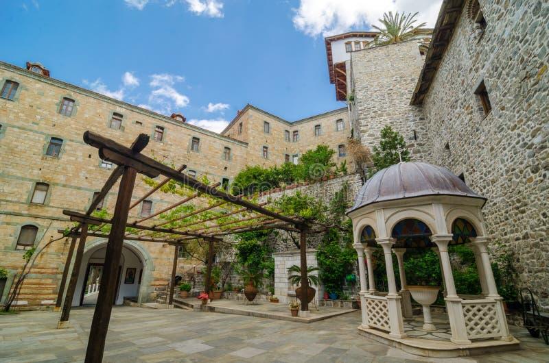 Het klooster van Dionysiou, zet Athos op royalty-vrije stock fotografie