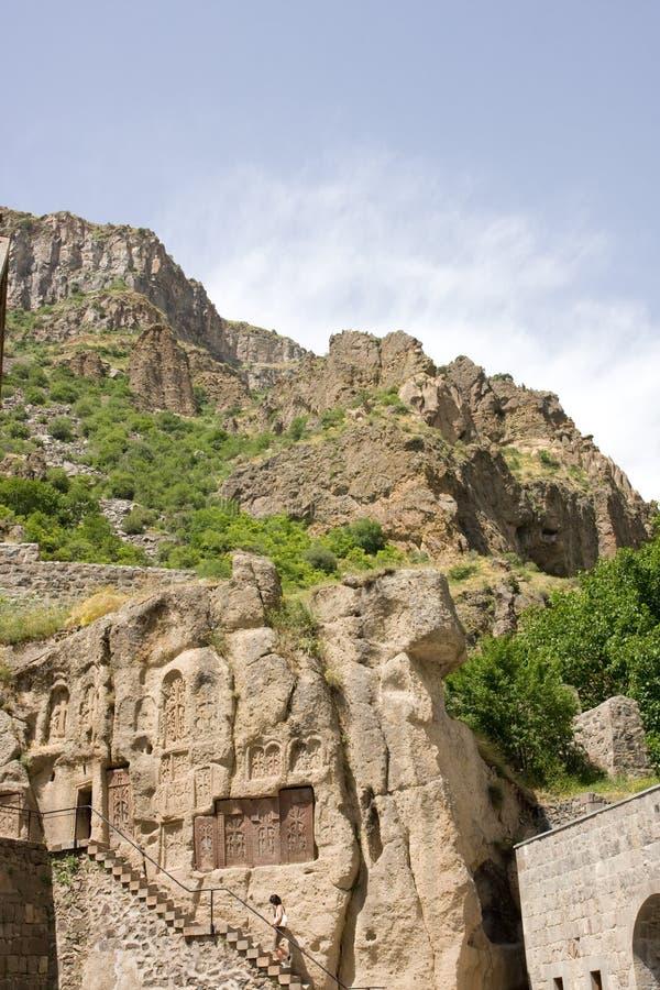 Het klooster van Geghard, Kotayk, Armenië, unieke archite stock foto