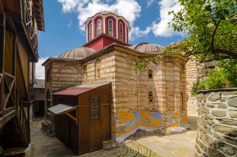 Het klooster van Osiou Gregoriou, zet Athos op stock foto