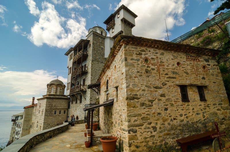 Het klooster van Osiou Gregoriou, zet Athos op stock foto's