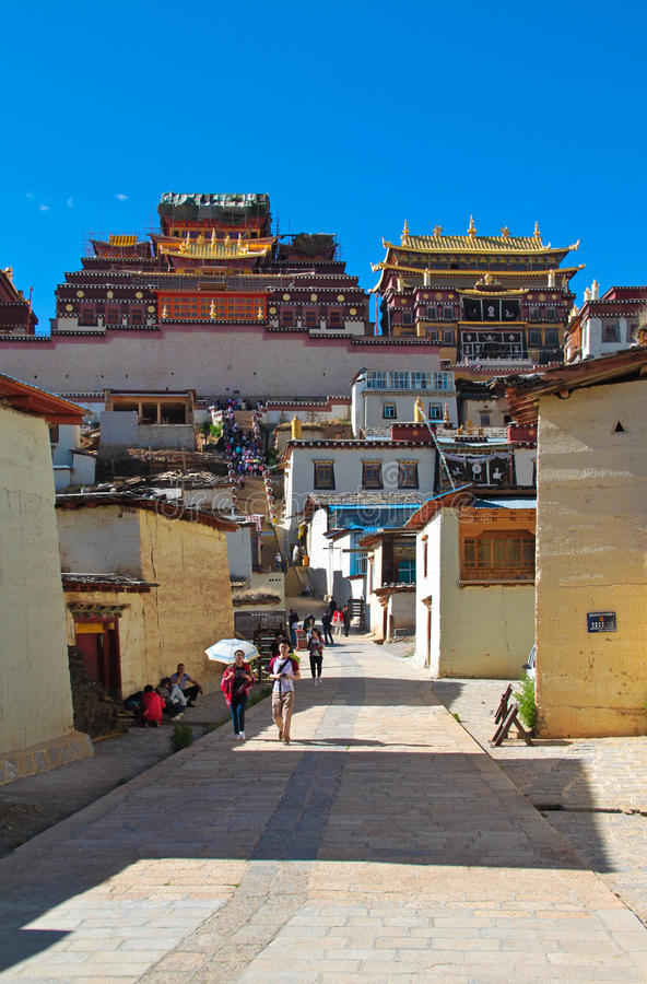Het Klooster van Songzanlin bij shangr-La, Yunnan China stock foto's