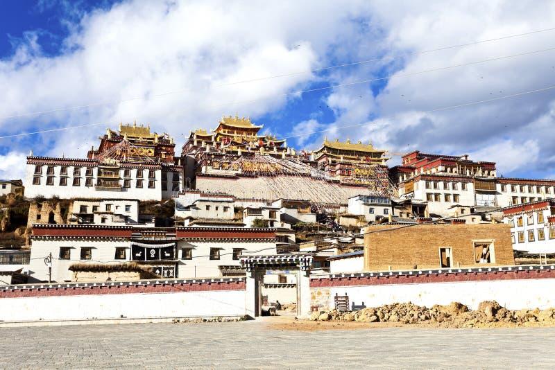 Het Klooster van Sumtseling van Ganden in Shangrila, China. royalty-vrije stock fotografie