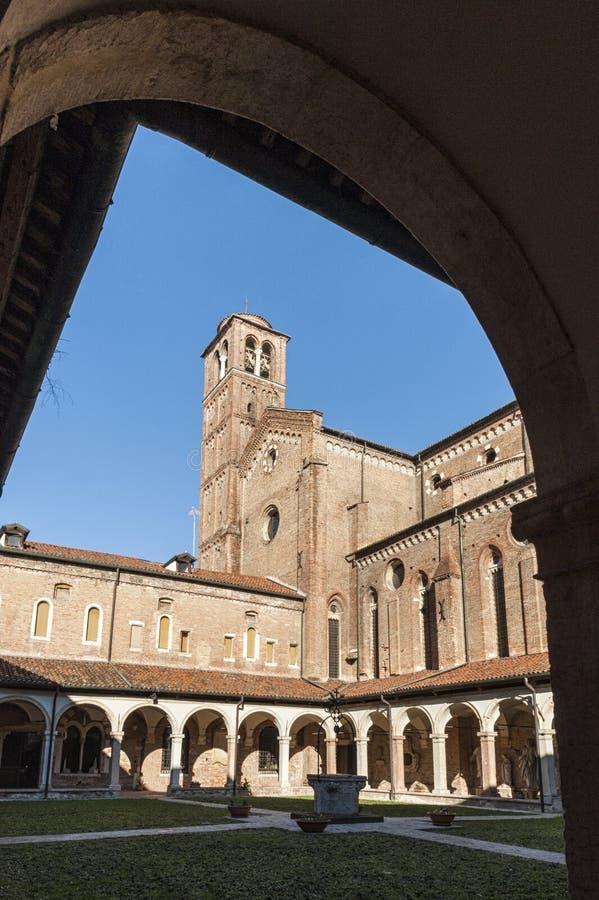 Het klooster van tempio San Lorenzo, een Katholieke plaats van San Lorenzo Church van verering in Vicenza, bouwde de Gotische sti royalty-vrije stock fotografie