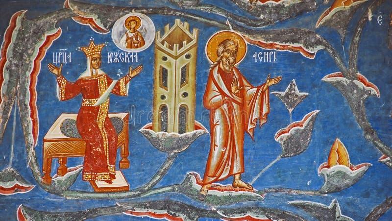 Het Klooster Voronet. Details van geschilderde buitenmuren. stock afbeeldingen