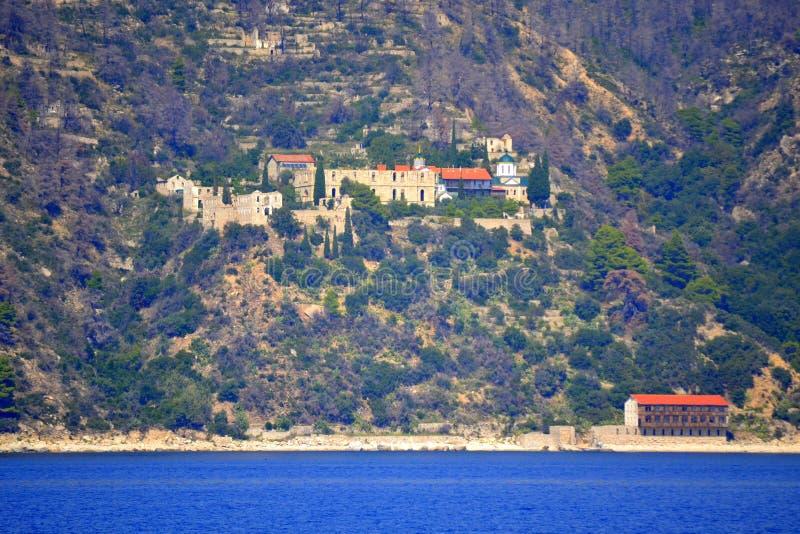 Het klooster zet Athos Greece op royalty-vrije stock foto's