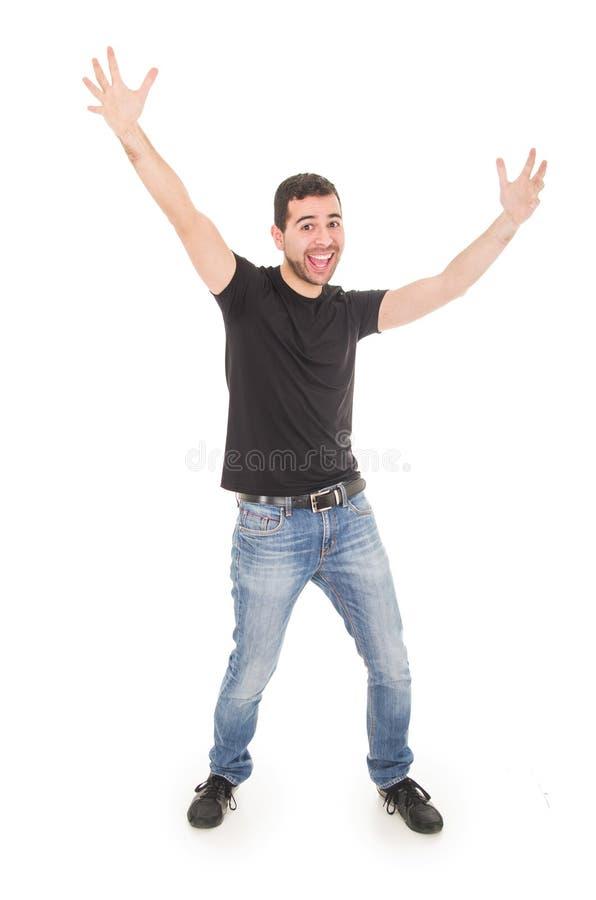 Het knappe gelukkige kerel stellen met omhoog wapens royalty-vrije stock foto's