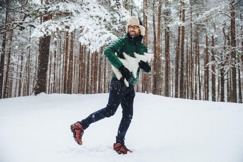 Het knappe glimlachende jonge mannetje draagt warme hoed en de anorak, brengt vrije tijd openlucht in bos tijdens de wintertijd v royalty-vrije stock foto's