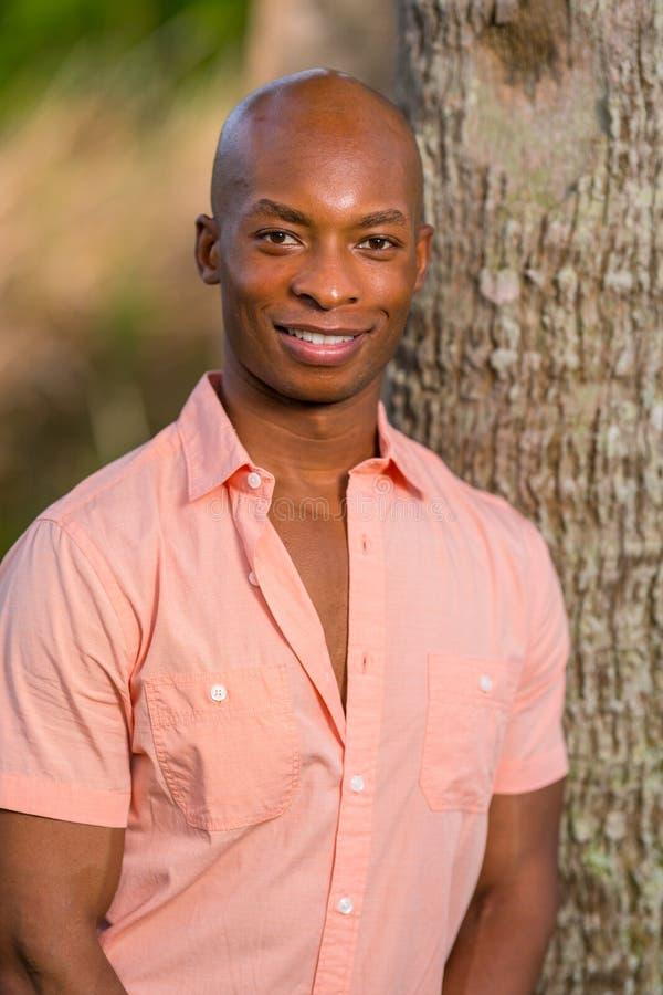 Het knappe jonge zwarte mens stellen door boom in het park Mens die een roze knoopoverhemd dragen en bij de camera glimlachen stock foto