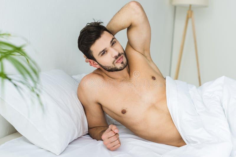 het knappe shirtless mens ontspannen royalty-vrije stock afbeelding