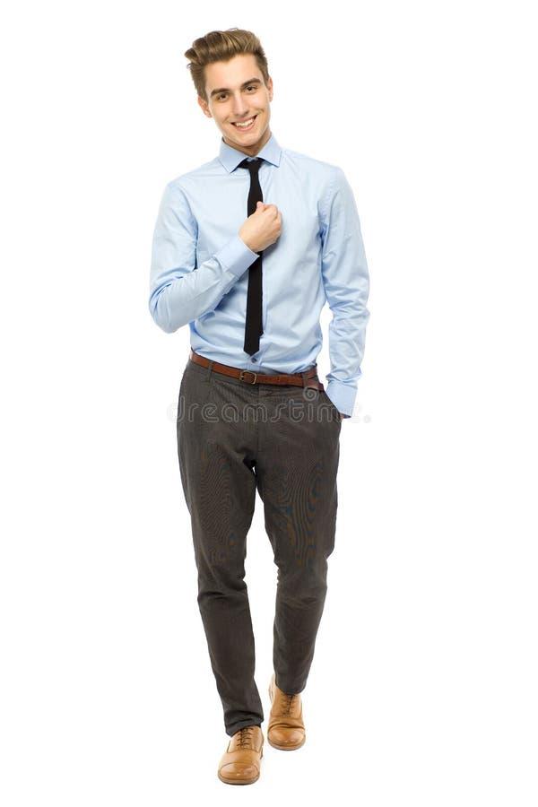 Het knappe zakenman glimlachen stock foto's