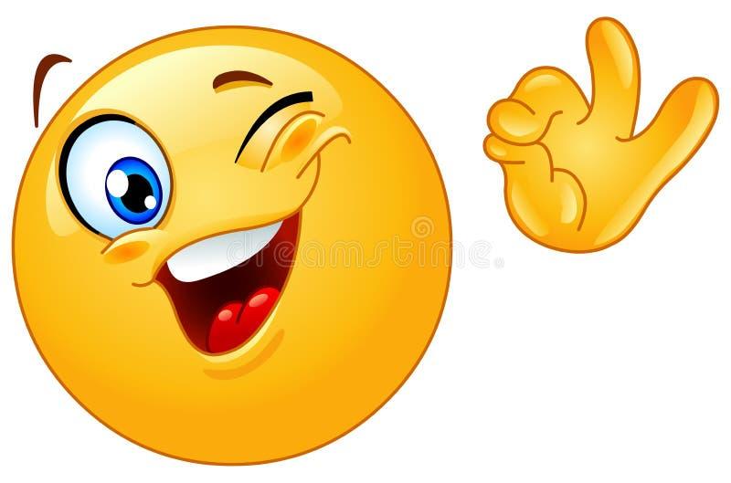 Het knipogen emoticon stock illustratie