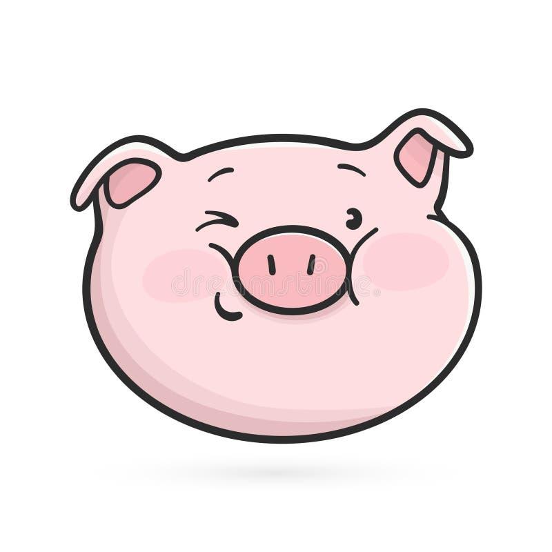 Het knipogen emoticon pictogram Emojivarken royalty-vrije illustratie