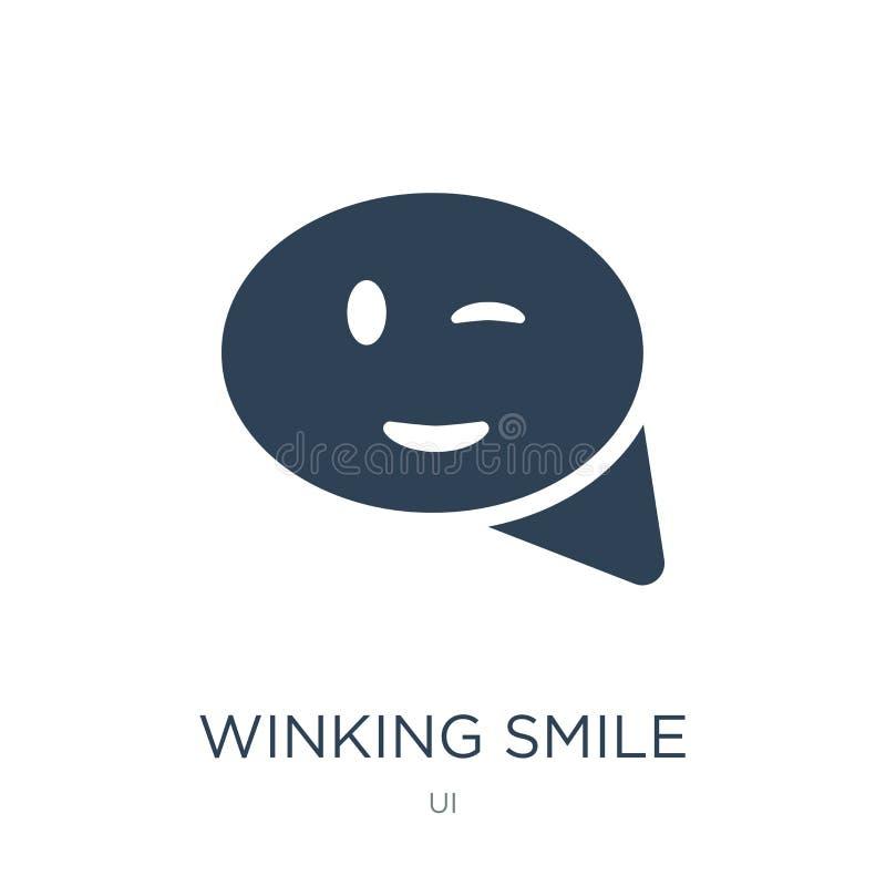 het knipogen glimlachpictogram in in ontwerpstijl het knipogen glimlachpictogram op witte achtergrond wordt geïsoleerd die het kn stock illustratie