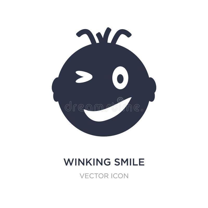 het knipogen glimlachpictogram op witte achtergrond Eenvoudige elementenillustratie van UI-concept stock illustratie