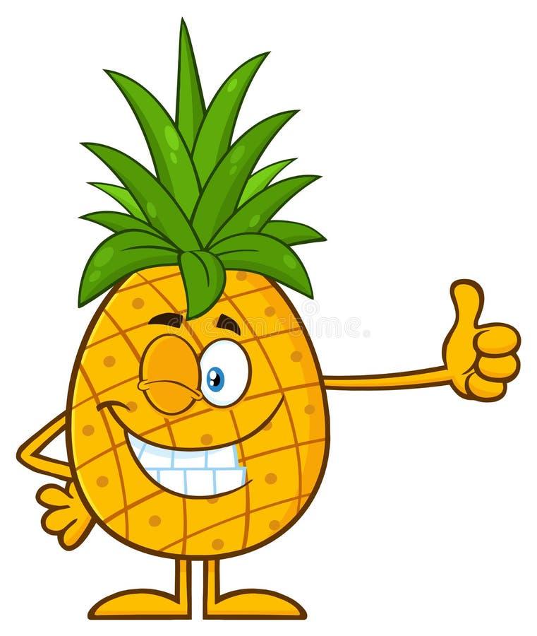 Het knipogen het Ananasfruit met Groen doorbladert het Karakter die van de Beeldverhaalmascotte een Duim opgeven vector illustratie