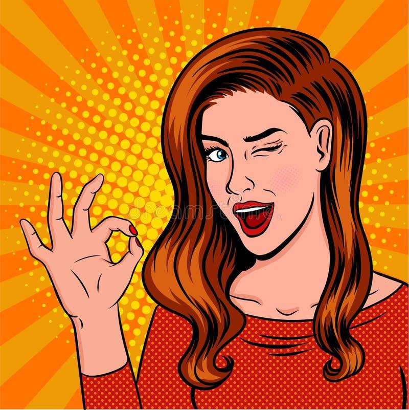 Het knipogen meisjespop-art Het tonen van O.K. teken met toespraakbel stock fotografie