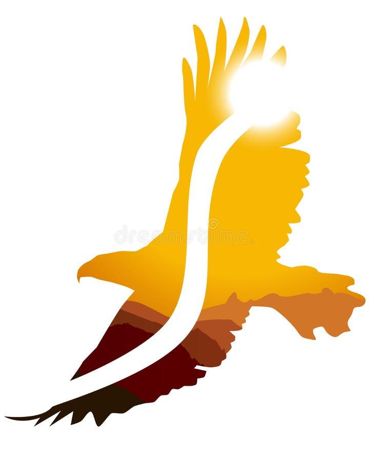 Het knipsel van de adelaar met de Achtergrond van de Zonsondergang stock illustratie