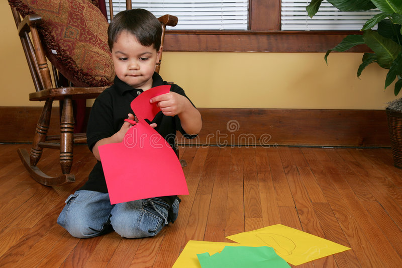 Het knipsel van de jongen op document royalty-vrije stock afbeeldingen