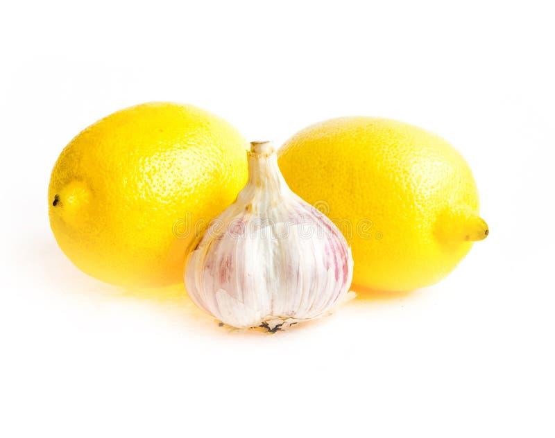 Het knoflook van de citroen stock afbeeldingen