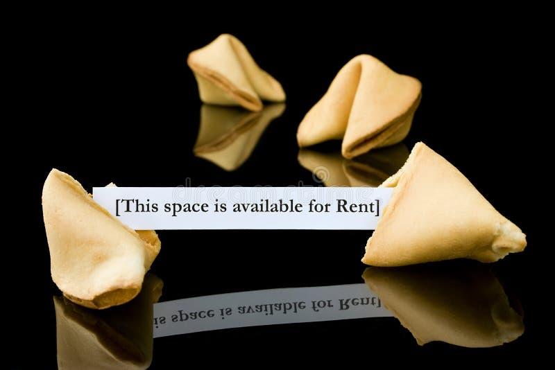 Het koekje van het fortuin: Deze ruimte is beschikbaar voor Huur stock fotografie