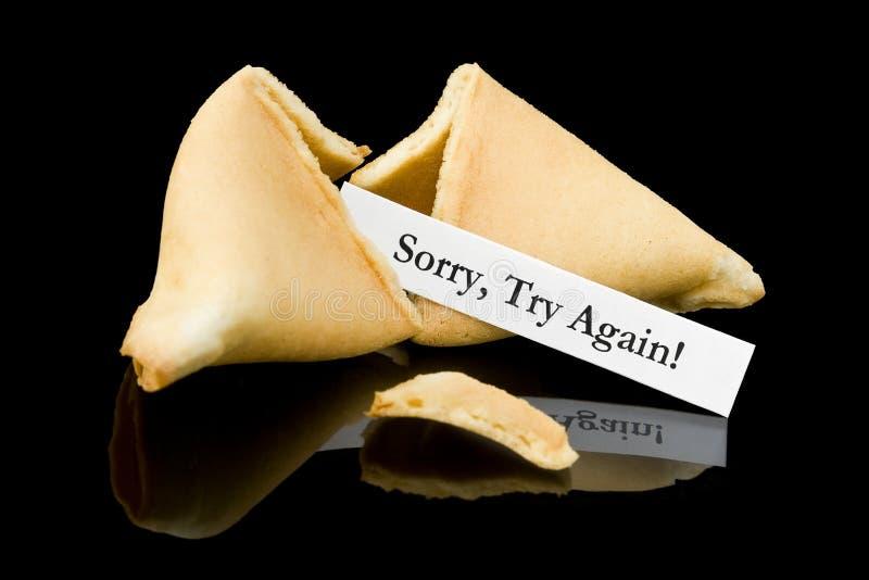 Het koekje van het fortuin: Droevig, probeer opnieuw! stock afbeeldingen