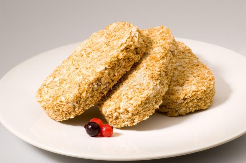 Het koekjesontbijt van de tarwe stock afbeelding