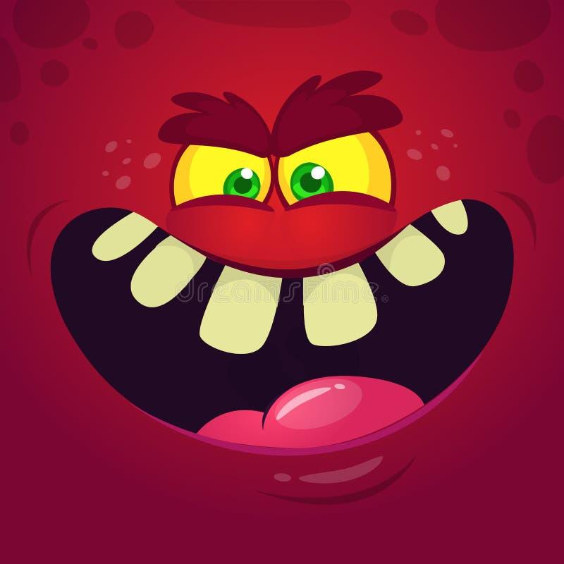 Het koele boze gezicht van het beeldverhaalmonster Vector rode het monsteravatar van Halloween royalty-vrije illustratie