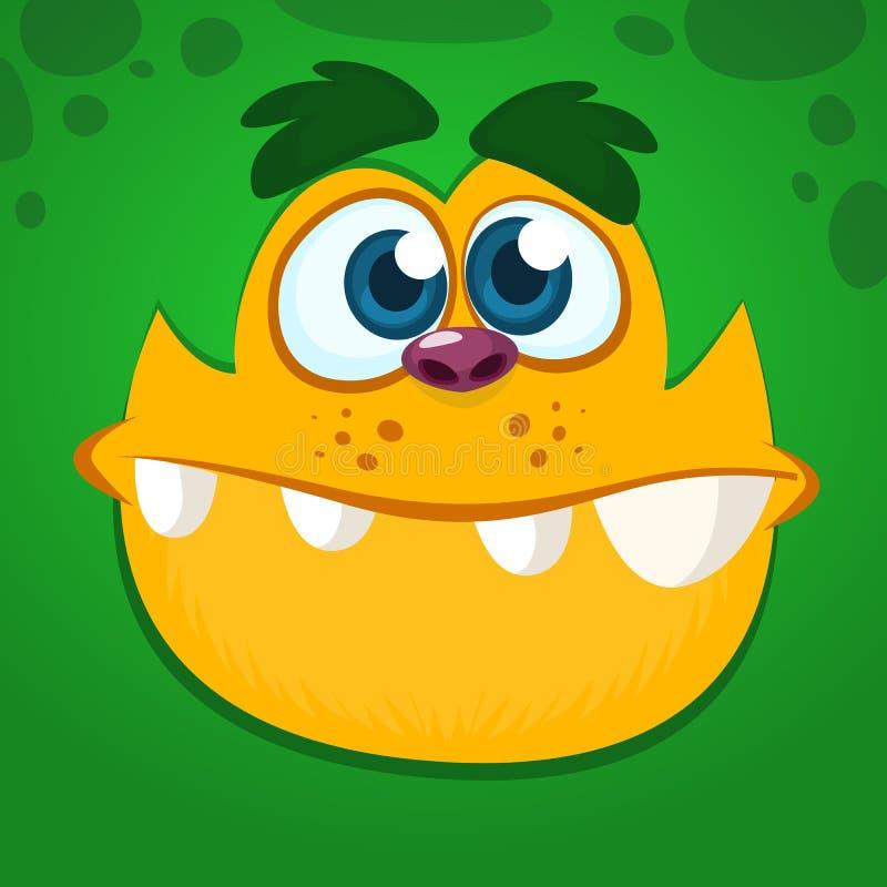 Het koele en grappige gezicht van het beeldverhaalmonster Vectorillustratie van groen monster stock illustratie